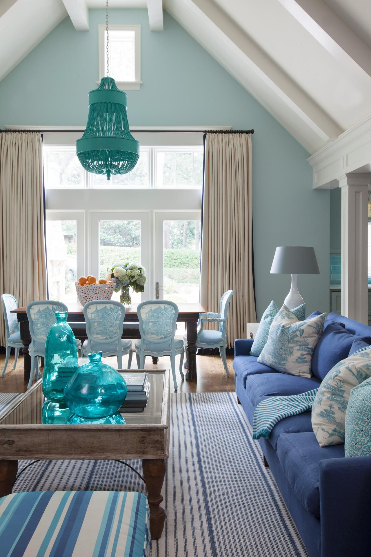 Transitional Living Room With Coastal Vibe And Blue: Let There Be Stripes! This Transitional Open Concept