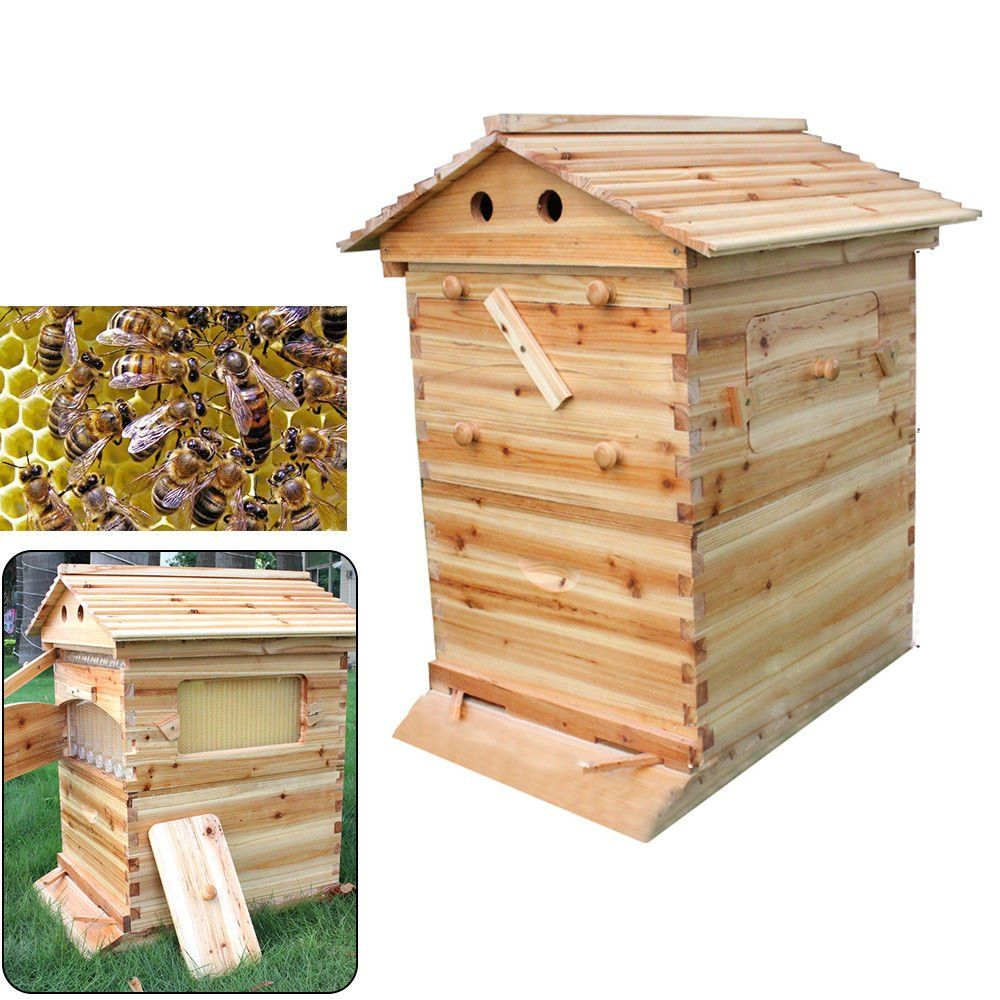 OUkANING Wooden Bee Hive Natural Wood Home Easy to Hang