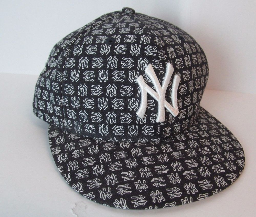 56931c99732 59 Fifty 59 50 NY Yankees Mens Hats New York Black White Logo Print Fitted  Hat  59Fifty  BaseballCap