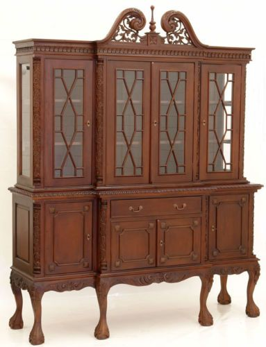 Bibliotheque en acajou massif style anglais chippendale buffet ...