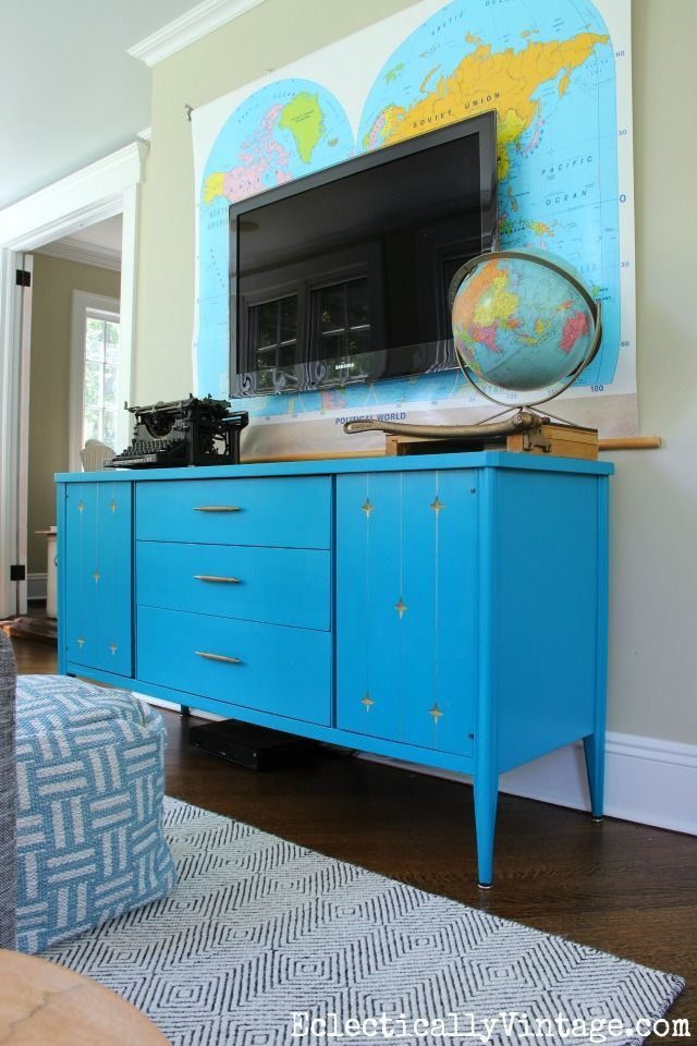 painted mid century furnitureThis sunroom gets a pop of color from painted mid century