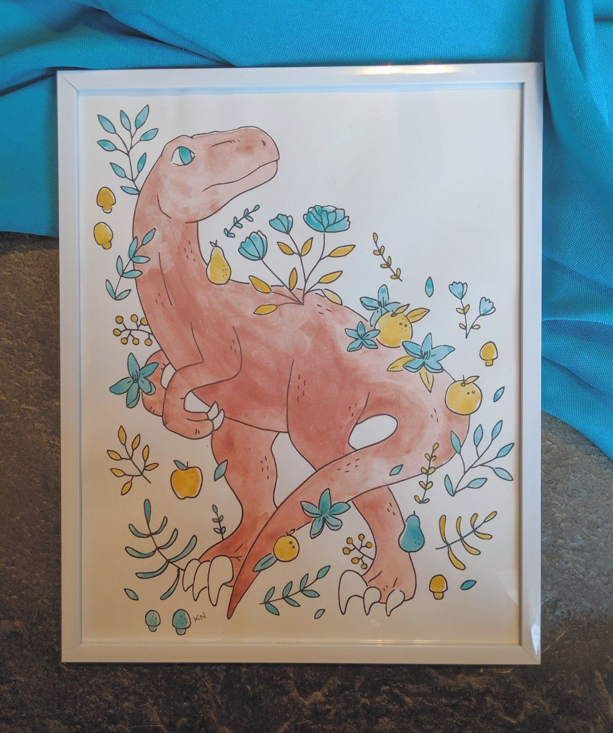 Floral raptor paintings with images screen printing