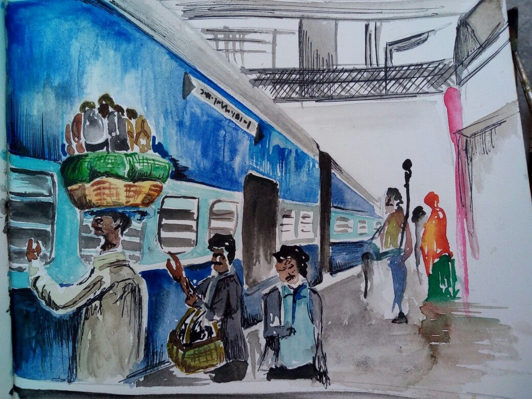 Railway Station Scene Done With Watercolors In