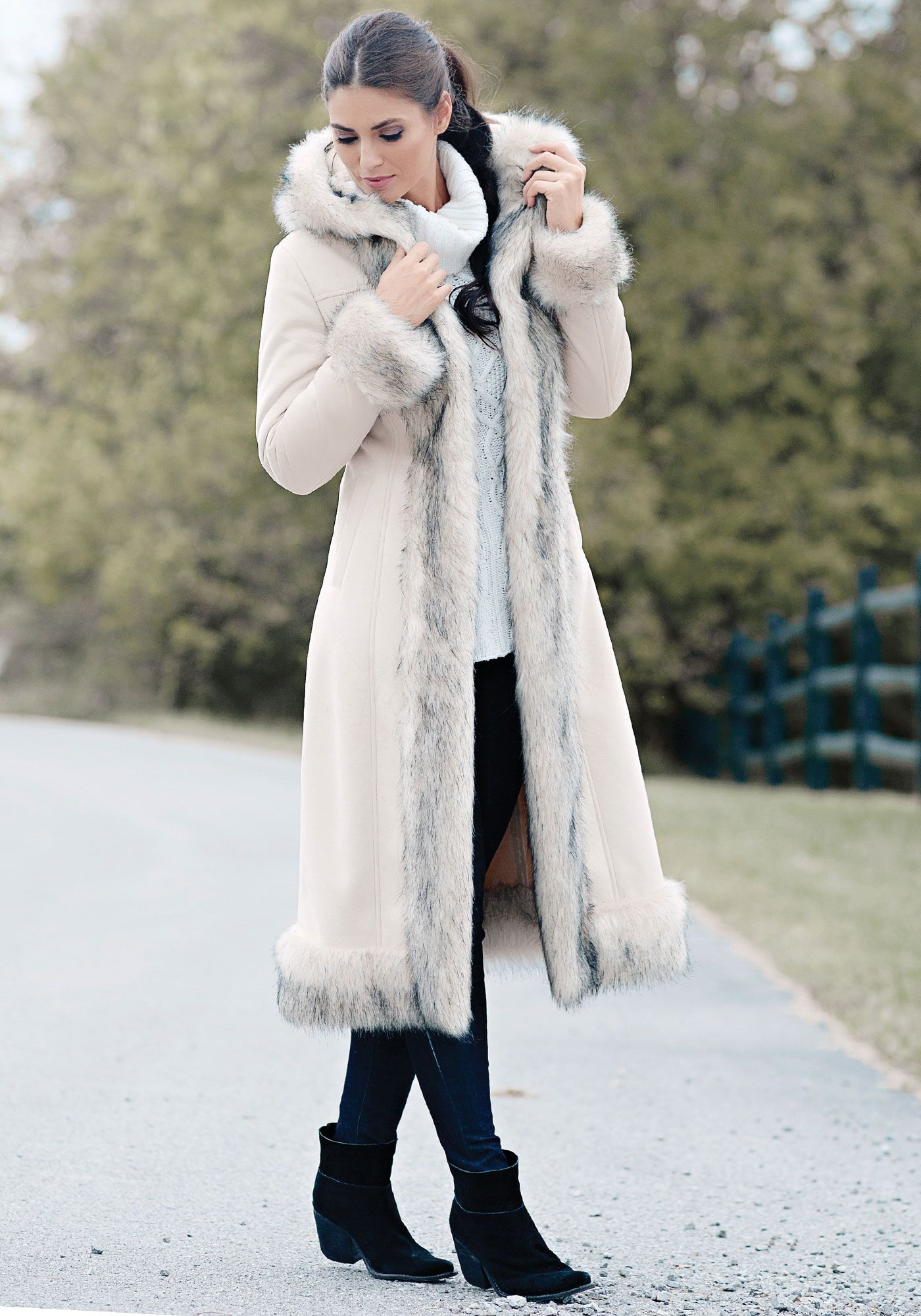 Ivory Faux Fur & Suede Full-Length Hooded Coat | Fur, Ivory and Coats