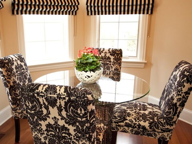 BLACK AND WHITE DINING ROOM CHAIRS Sit On It Pinterest – Damask Dining Room Chairs
