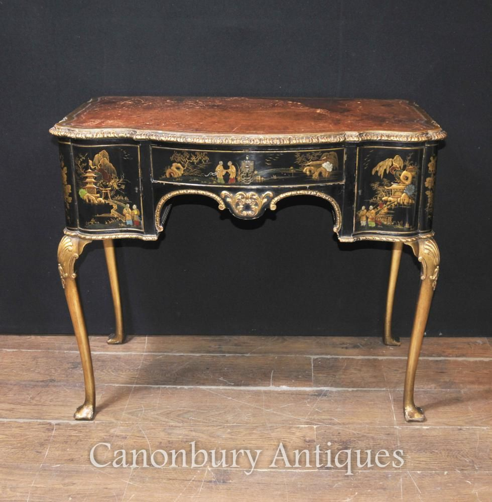 Antique English Chinoiserie Ladies Writing Desk Table 1900 - Antique English Chinoiserie Ladies Writing Desk Table 1900