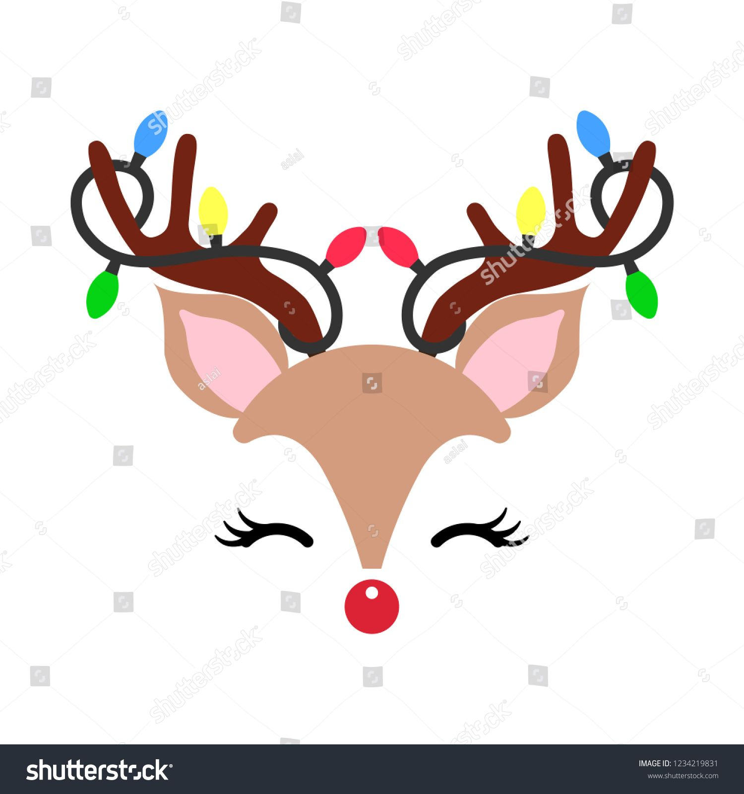 Cute Christmas red nose reindeer face vector. Funny