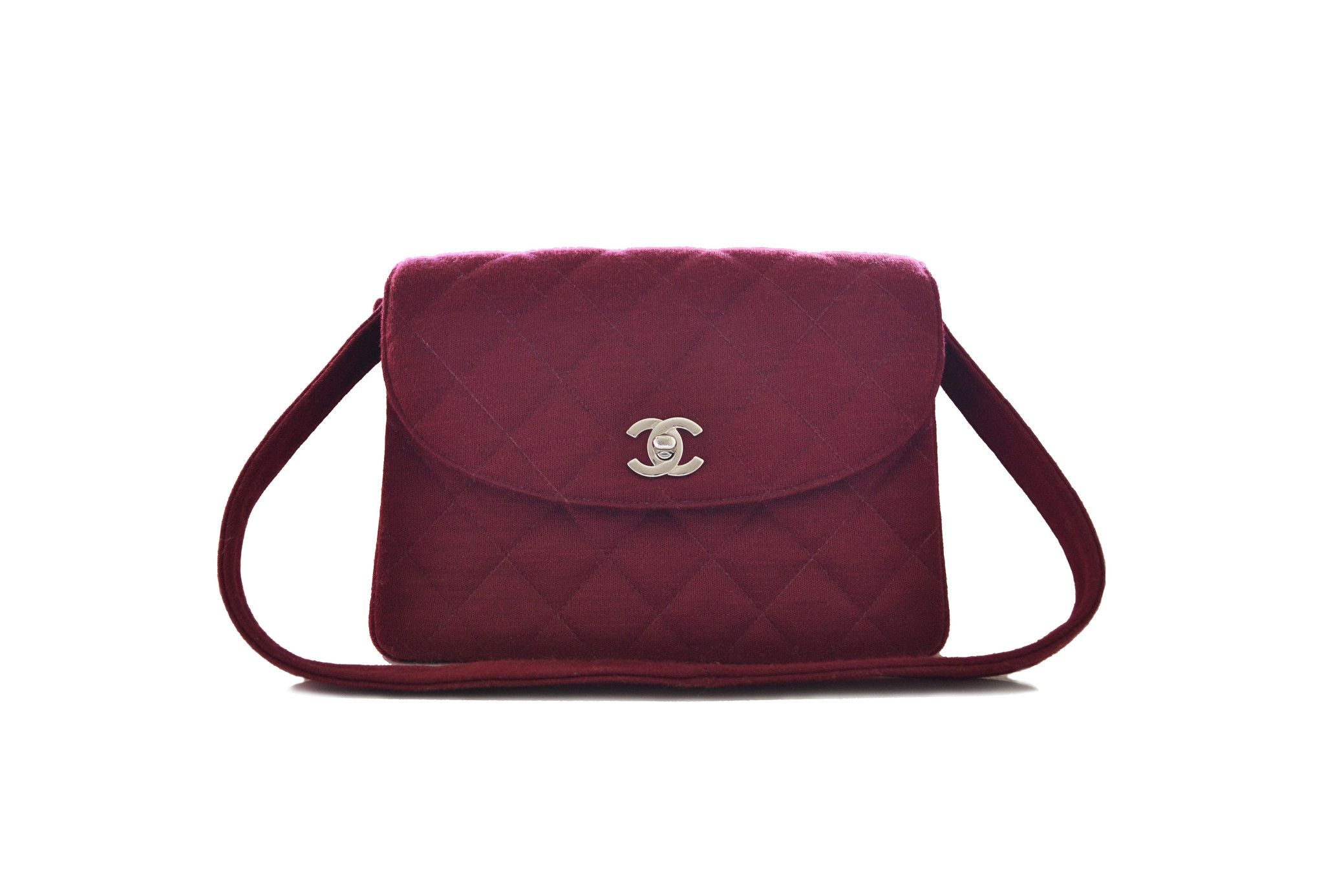 Free Uk Chanel Vintage Bag Quilted Jersey In Burgundy From District Authentic Designer Bags