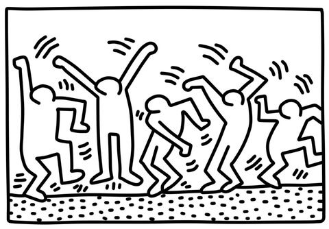 Dancing Figures By Keith Haring Coloring Page From Keith Haring