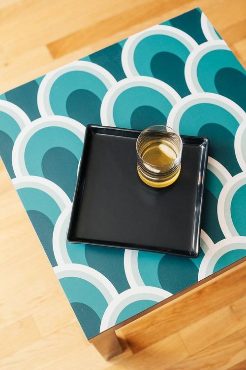 Wonderful 5 Different Ways To Use Wallpaper: Cover A $10 Ikea Table With Wallpaper To  Dress Amazing Pictures