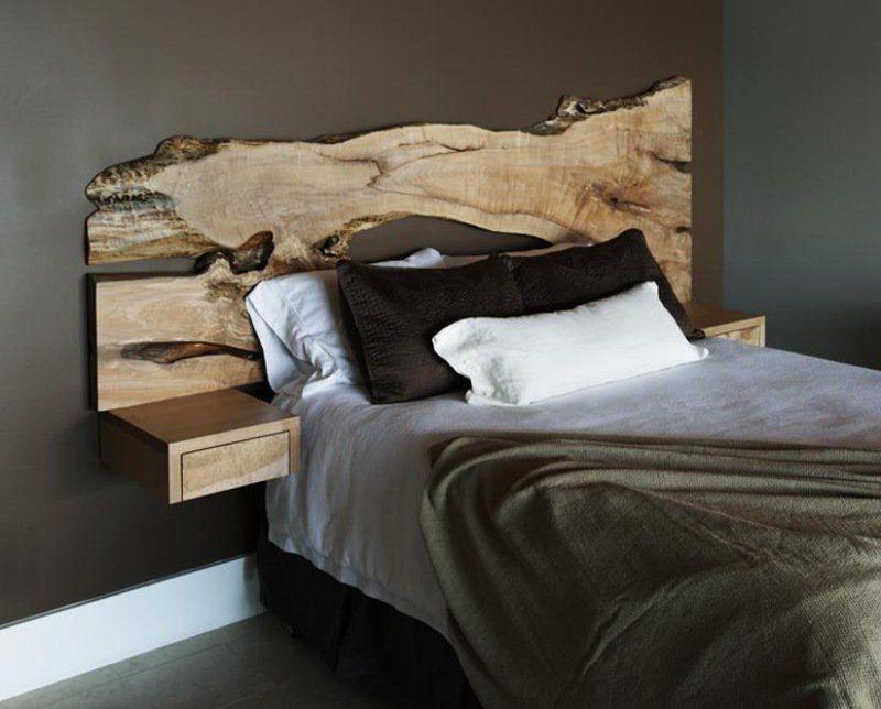 tête-lit-bois-aspect-pétrifié-chambre-rustique-moderne   Chambre ...