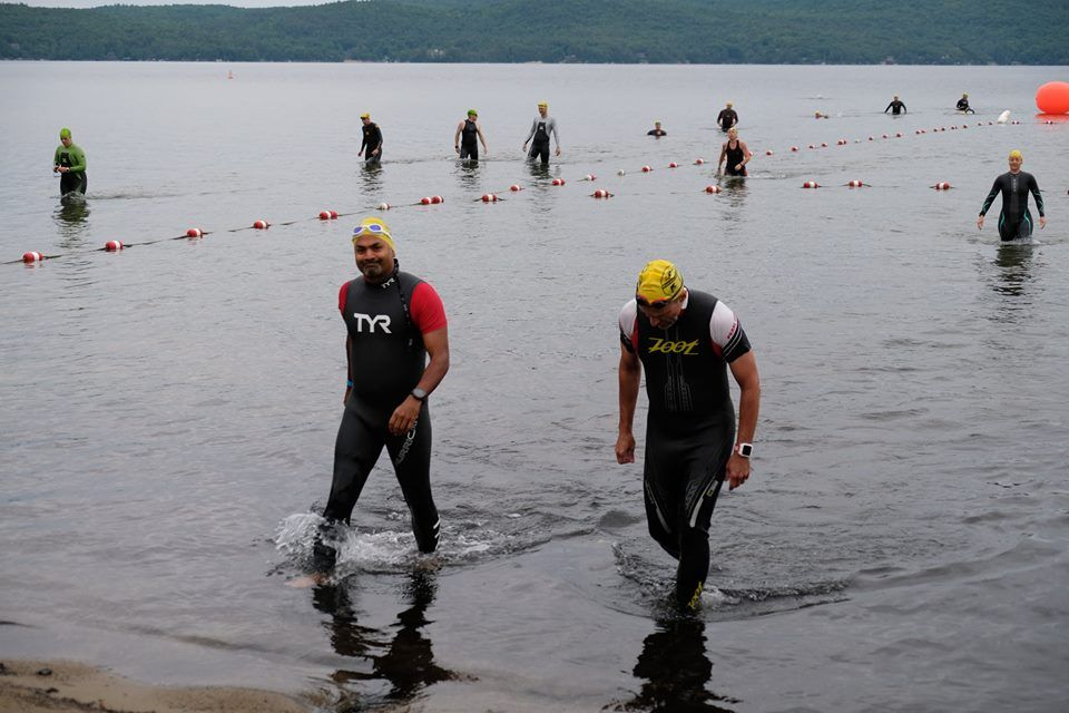 Dr  Adventure and Chris taking a warm-up swim prior to the