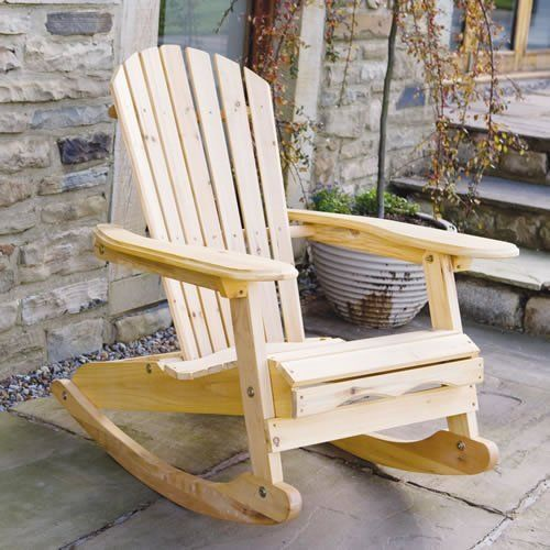 garden patio adirondack bowland rocking chair natural wood