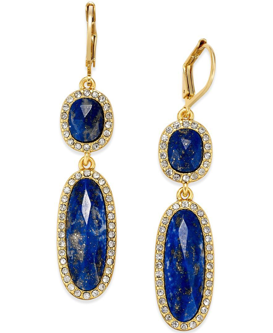 kate spade new york 14k Gold-Plated Semiprecious Pave Stone Double Drop Earrings