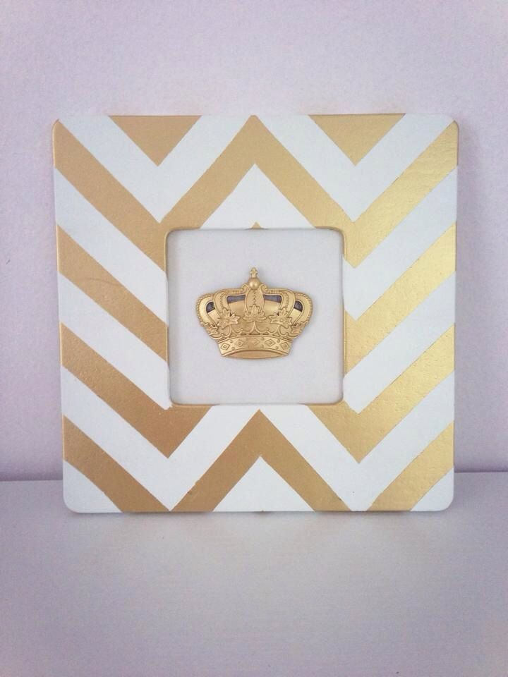 Gold & White Chevron Picture Frame ($1 Michaels unfinished wood ...