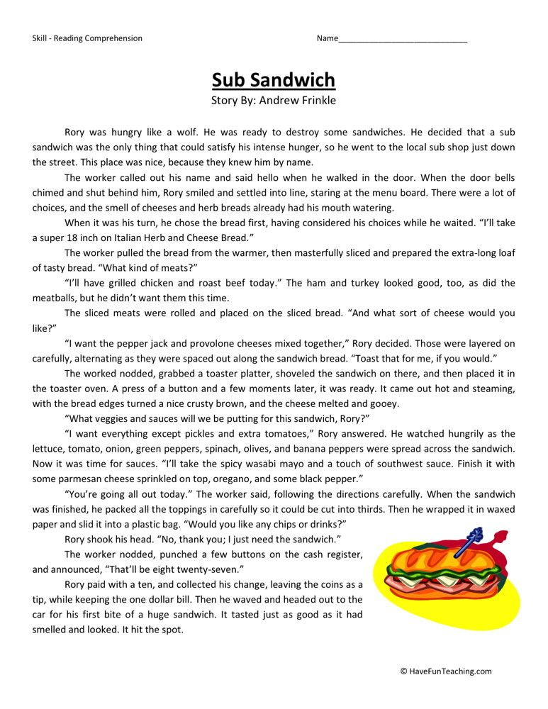 Sub Sandwich Food Pinterest Reading Comprehension Worksheets