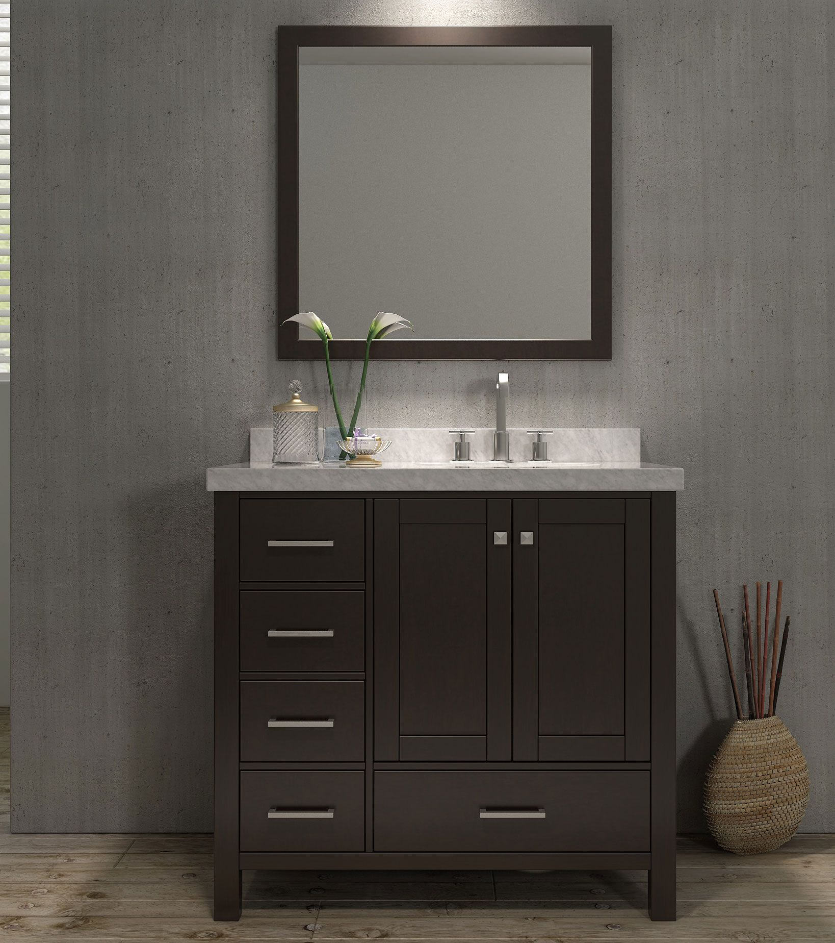 Ace 37 Inch Single Bathroom Vanity Set Right Offset Sink