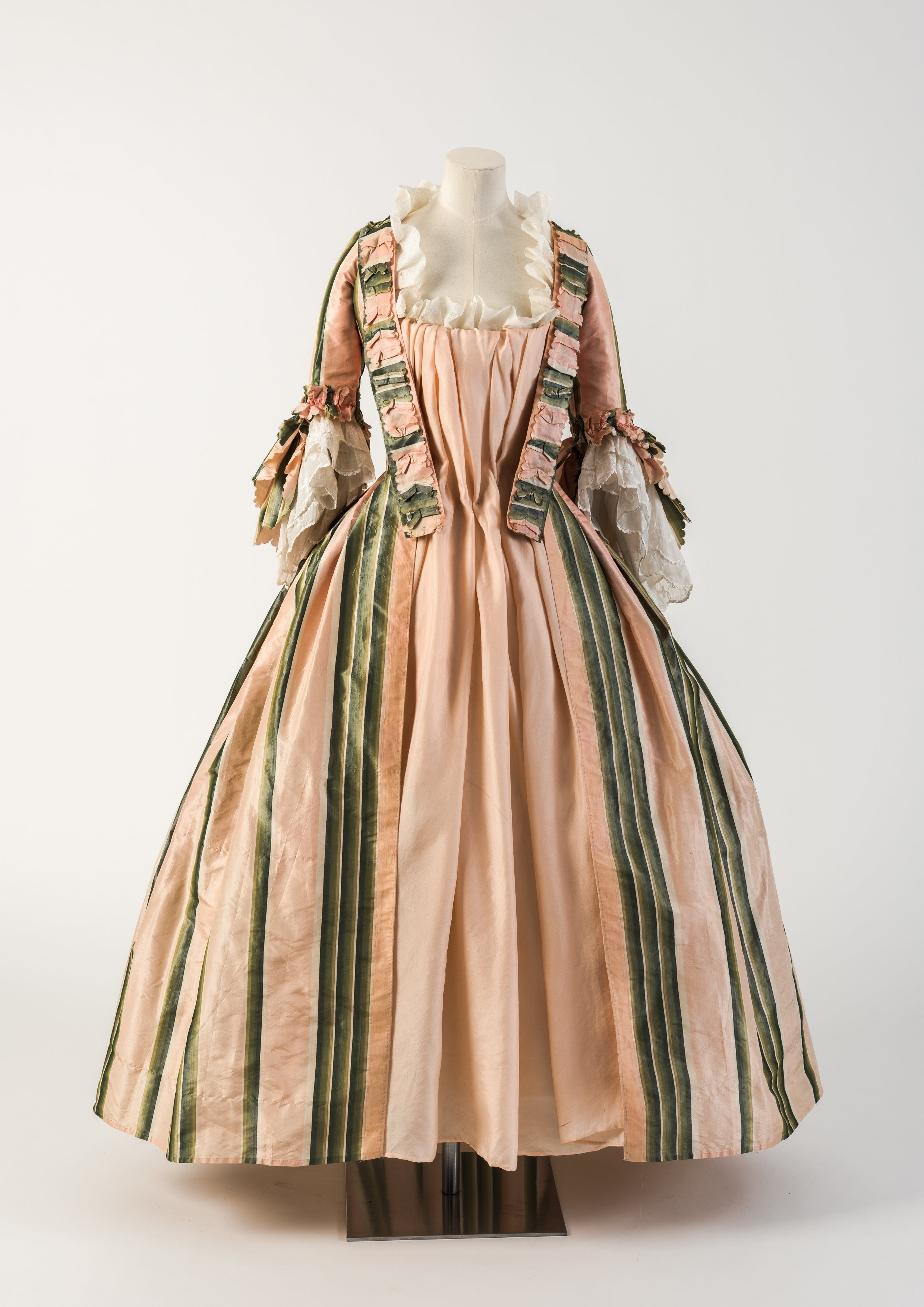 OBJECT 19   Pink and green striped silk robe a l anglaise  Fashion Museum  Bath OBJECT 19   Pink and green striped silk robe a l anglaise  1770s  . Bath Fashion Museum Gift Shop. Home Design Ideas