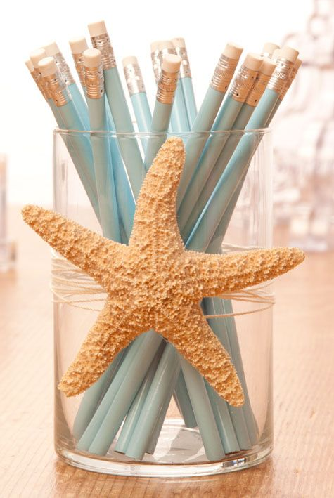 Starfish Pencil Holder Beach Room Decor Office