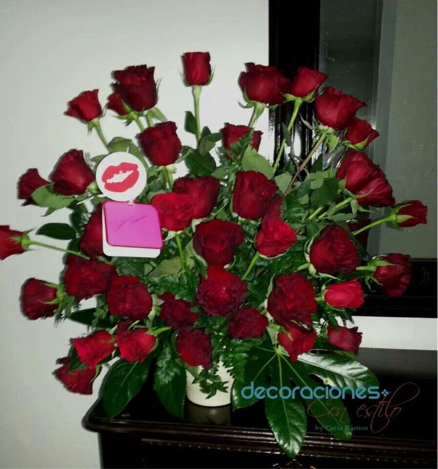 Precioso arreglo con 35 rosas rojas red roses - Arreglo de flores naturales ...