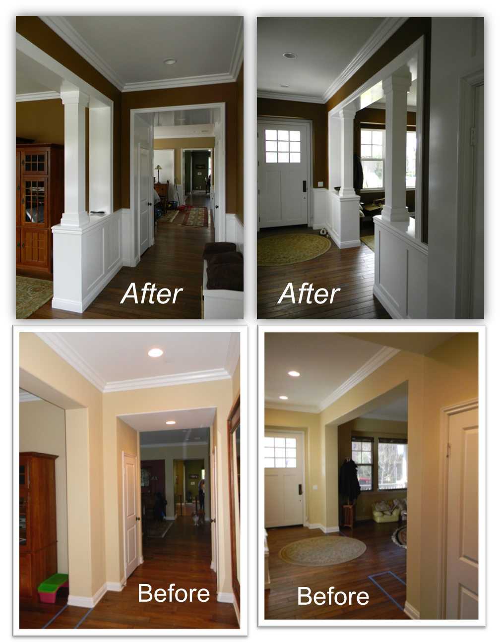 Traditional Entryway Ideas Trim Mouldings And Columns Added To Large Open Entryways Giving Plain Cookie Cutter Es A Unique Customized Feel