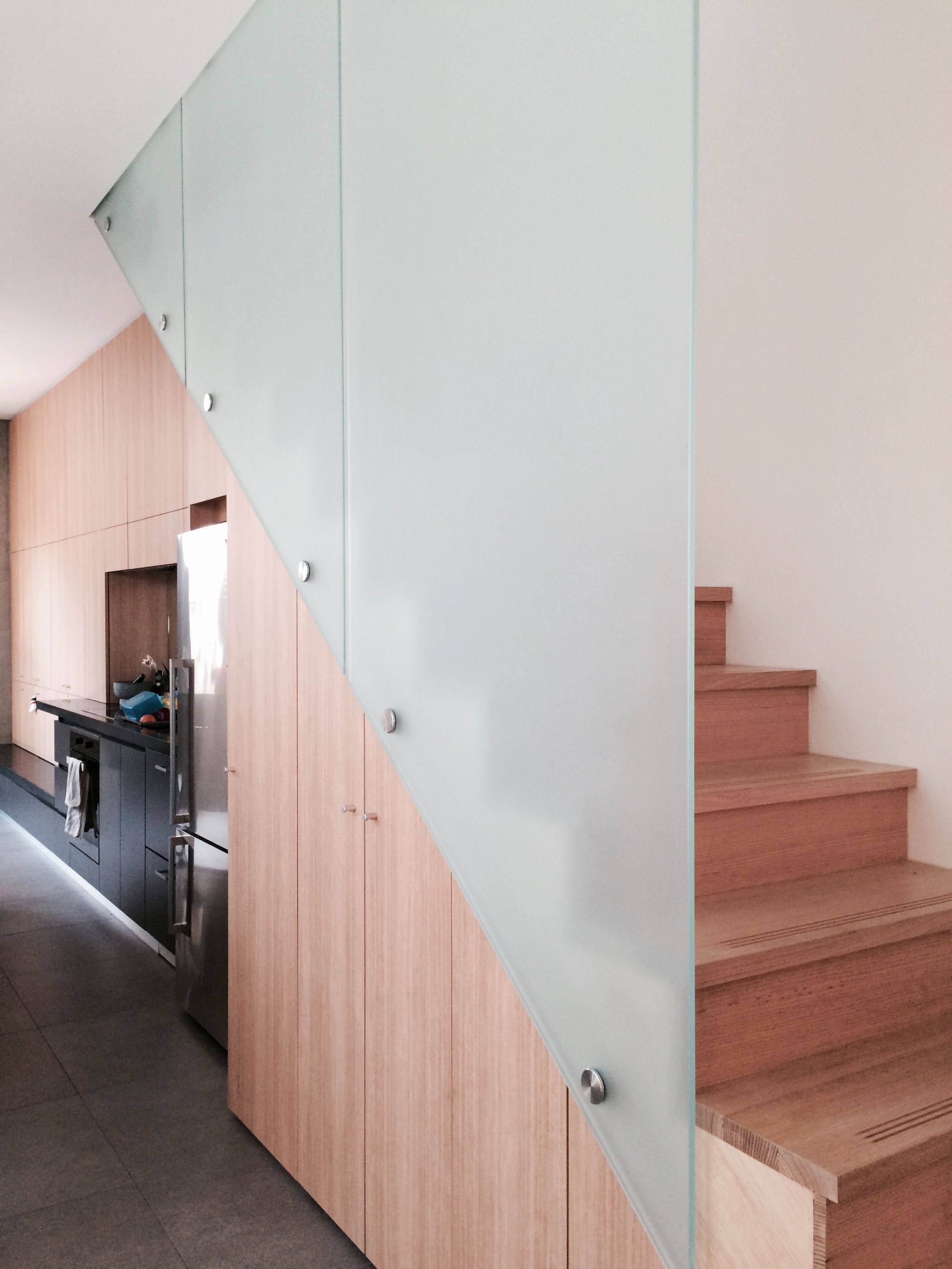 Frosted Staircase Balustrade by Frameless Impressions