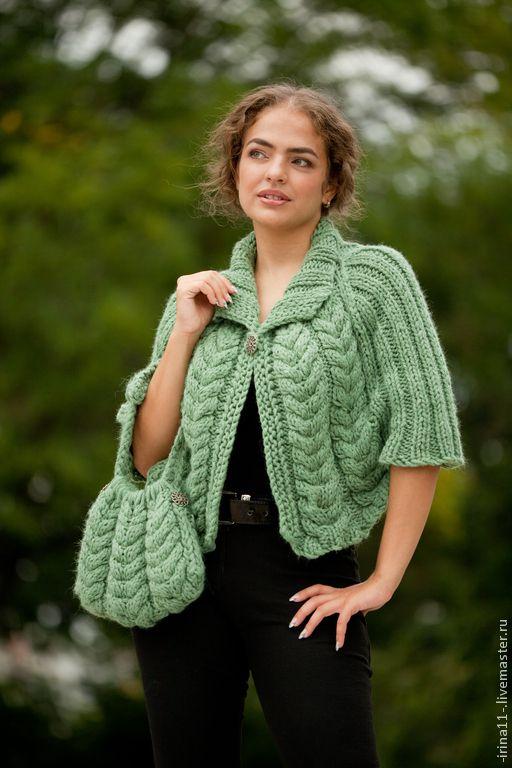 Купить Вязаное пончо Омут крупной вязки - зеленый, пончо, пончо вязаное, вязание спицами