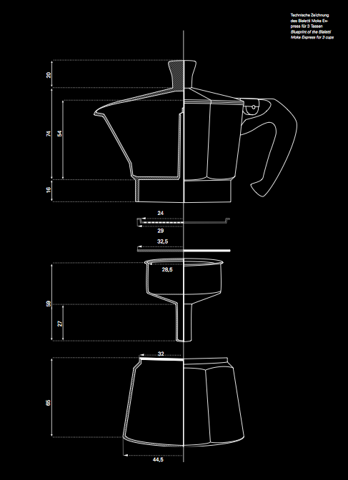 A blueprint of the Bialetti Moka Express. #productdesign #industrialdesign #ID…