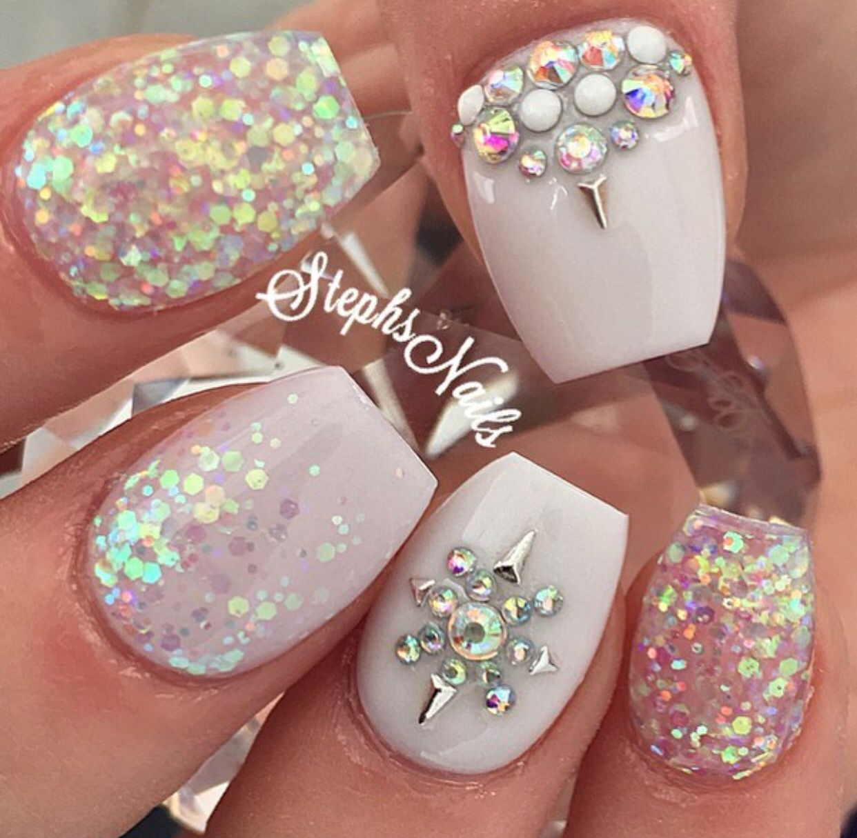 Easy nail art design with rhinestones   with glitter   wedding nail ...