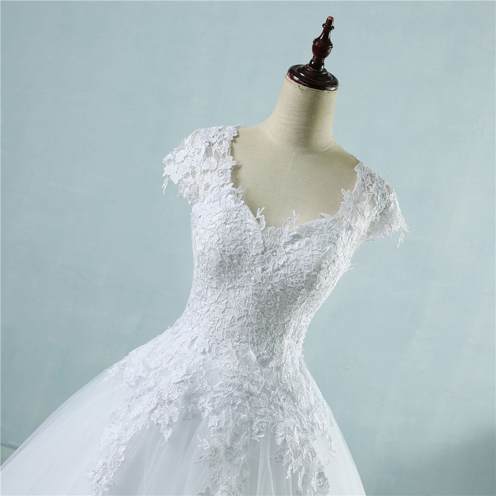 Tulle A-Line Sweetheart Cap Sleeves Appliques Wedding Dress ...