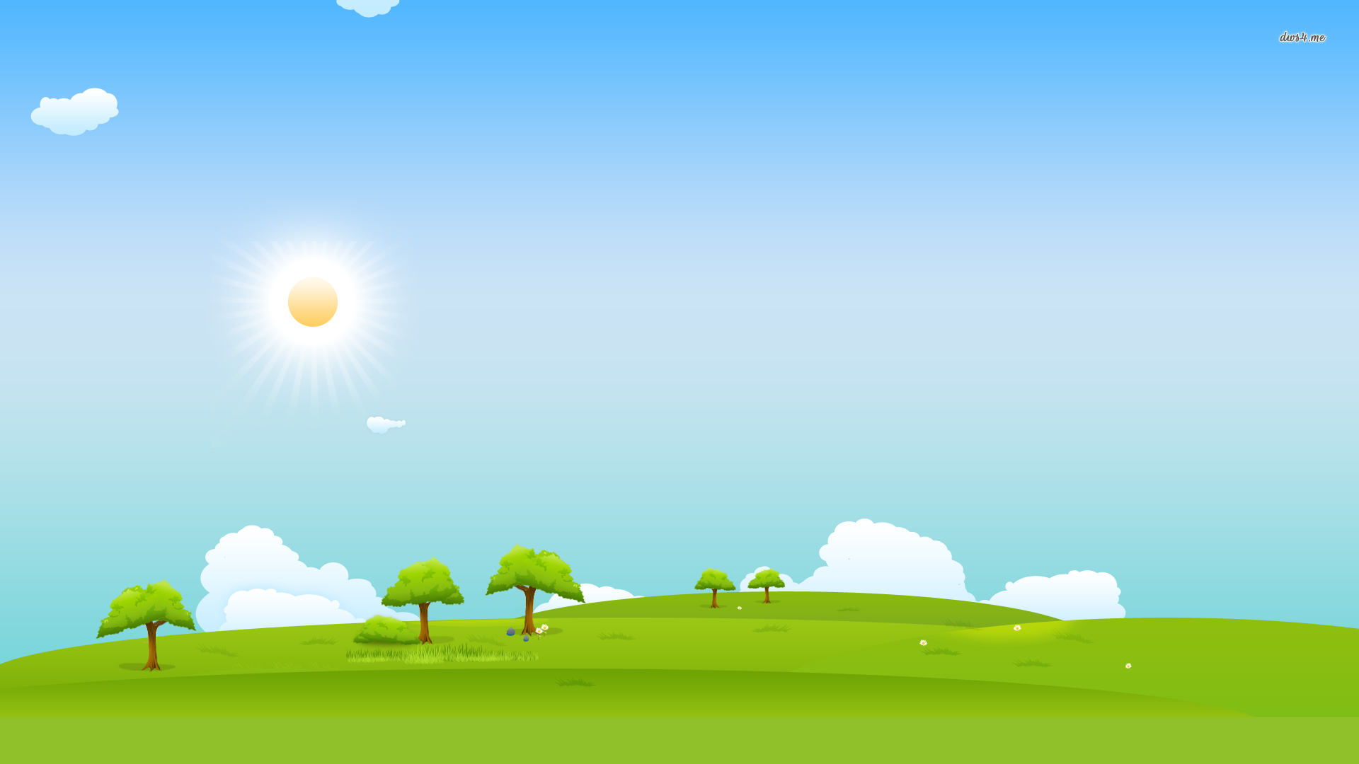 Grass And Sky Vector Wallpapers Widescreen On Wallpaper