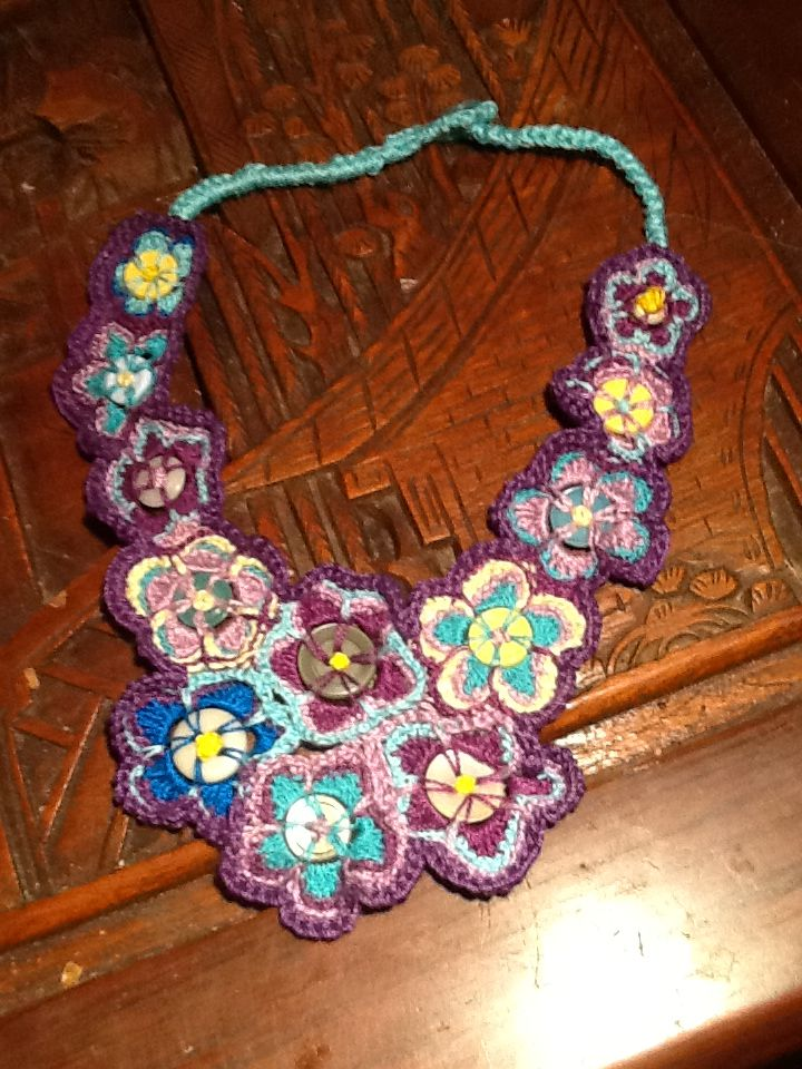 Crochet and button Necklace