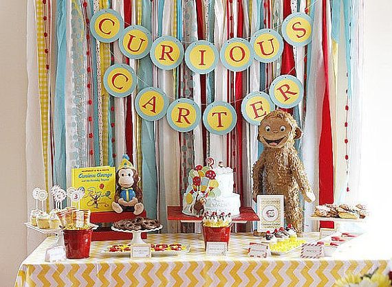 Curious George Inspired Fabric Backdrop