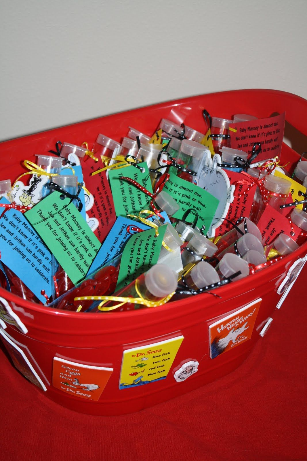 Dr. Suess baby shower ideas | The favors - tubes of Swedish Fish ...