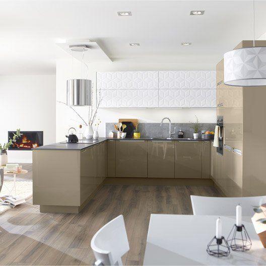 Meuble De Cuisine Taupe DELINIA Milano Kitchen Project - Verin a gaz pour meuble de cuisine pour idees de deco de cuisine
