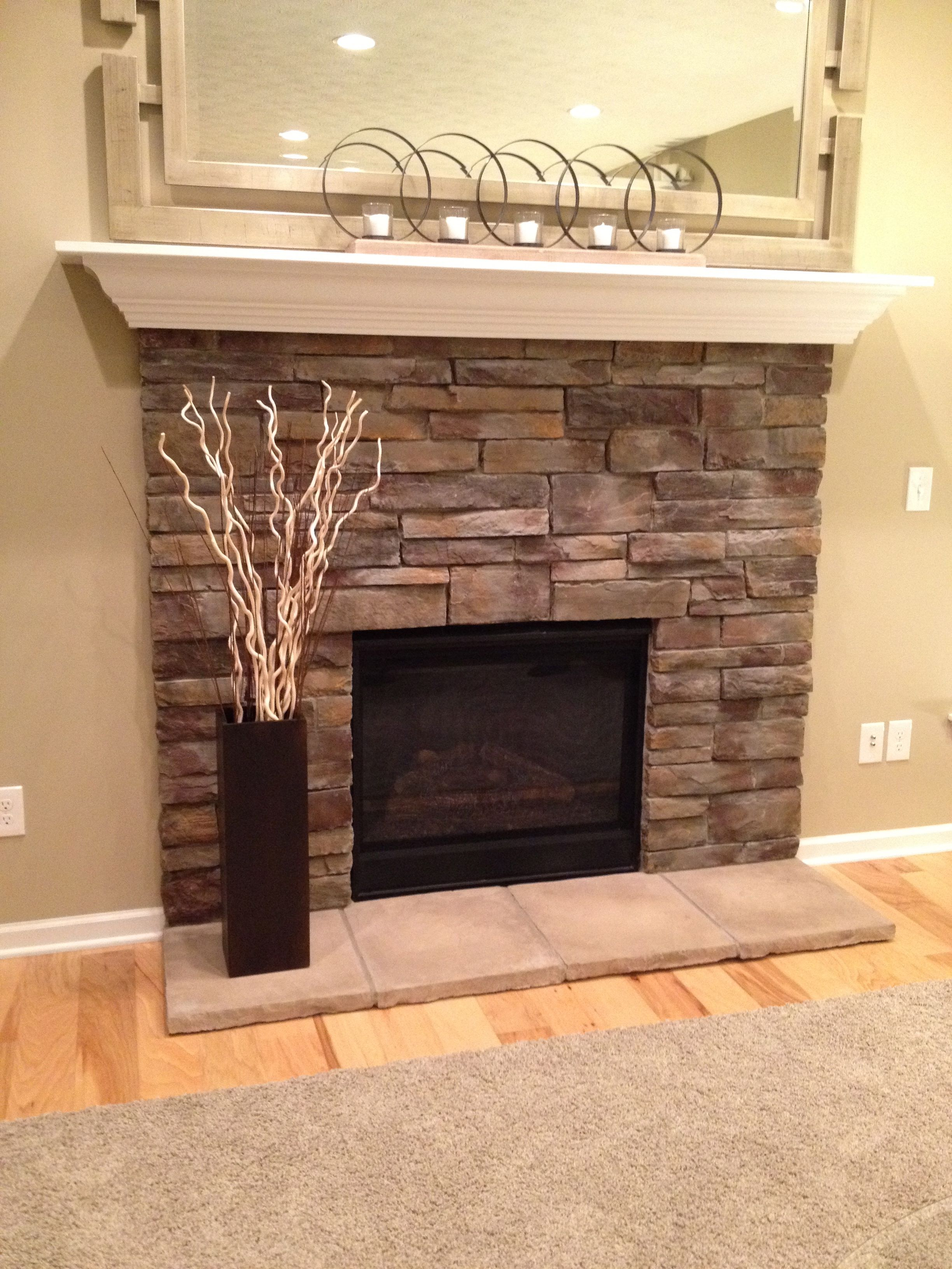 Standard Stone Fireplace  With Flush Stone Hearth This Is