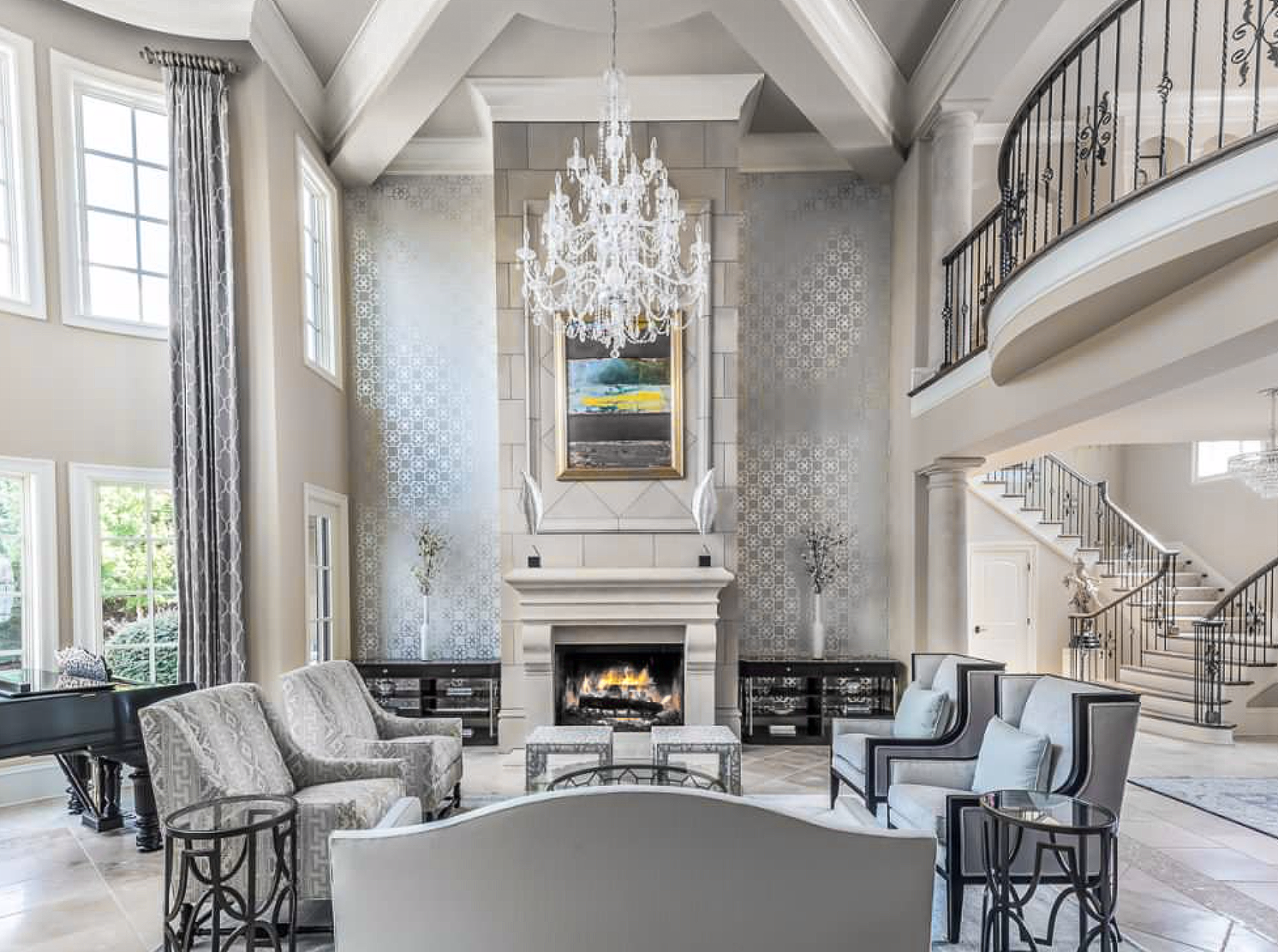 Elegant Grey and beige mediterranean style living room