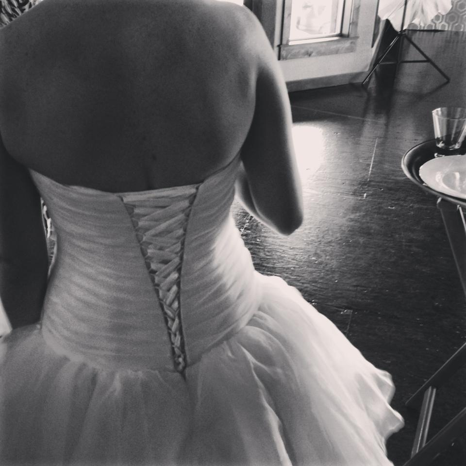 lace up back, tiered chiffon skirt