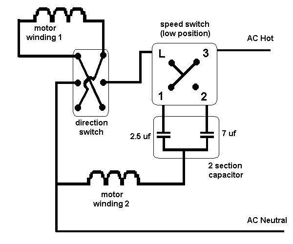 ceiling 3 speed 3 wire switch and diagram