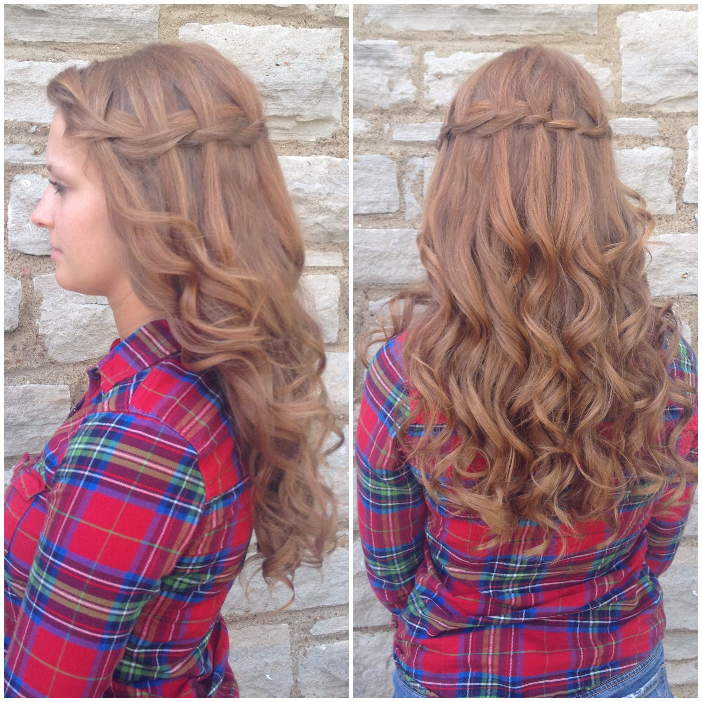 Waterfall braid & curls for prom | Waterfall braid with ...