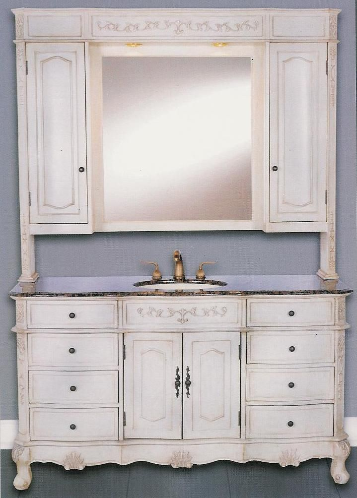 60 Inch Cortina Handcrafted Single Sink Vanity With Marble Top And Matching  Set Mirrored Hutch