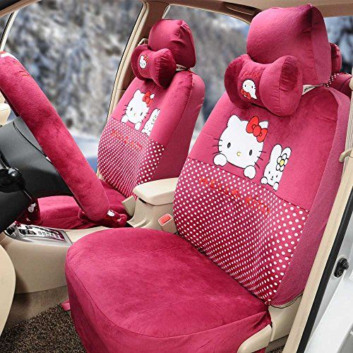 18pcs Hello Kitty Cartoon Universal Car Five Seat Covers Steering Wheel Cover Rose Red