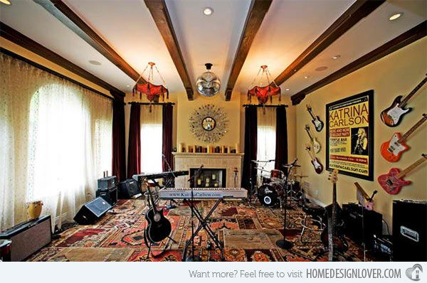 15 design ideas for home music rooms and studios studio for Jazz living room ideas
