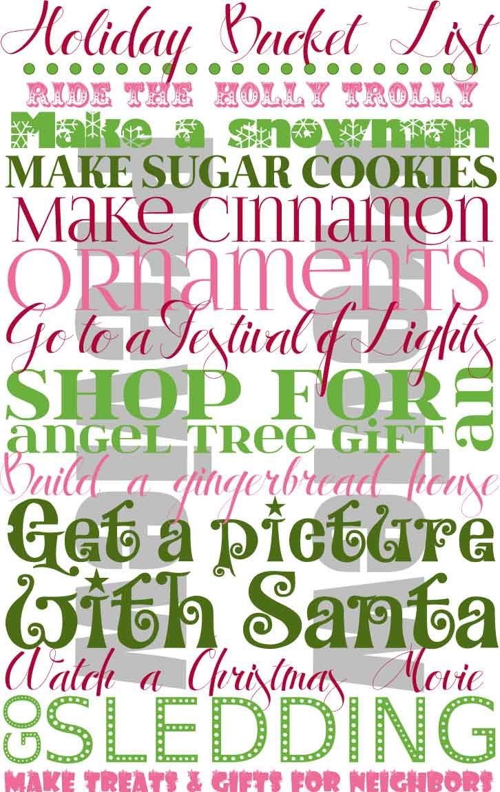 holiday bucket list print 199 on etsy