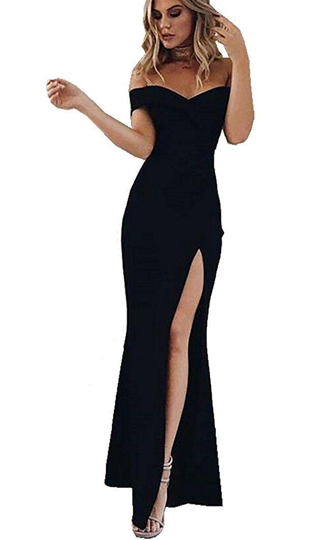 CoCo Fashion Damen Trägerlos Split Maxikleid Off Shoulder Lange ...