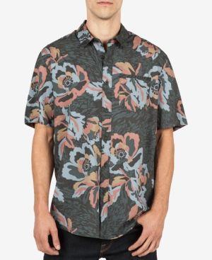 Volcom Men's Cubano Floral-Print Cotton Pocket Shirt  - Black 2XL