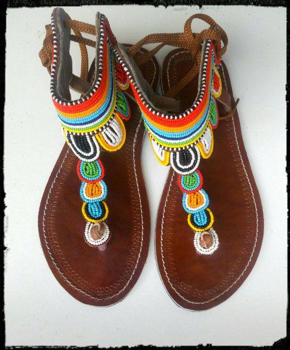 Maasai Leather Sandals Maasai sandals Beaded sandals