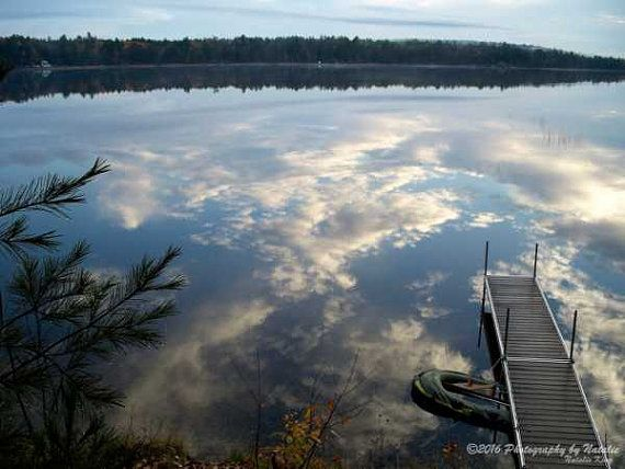 Clear day reflections on the lake by seeAroostook on Etsy