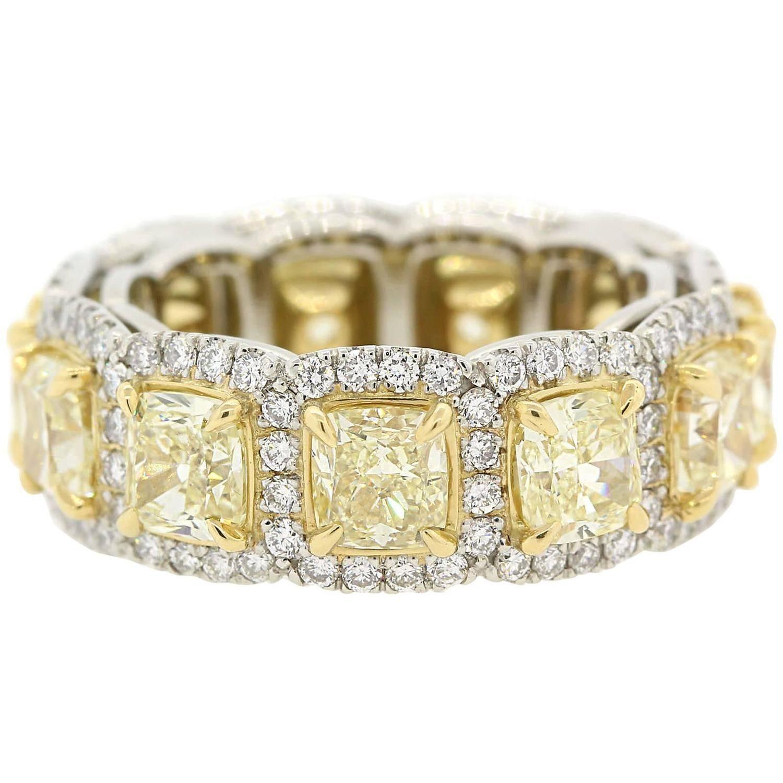 Fancy yellow radiant cut diamonds gold eternity band ring radiant