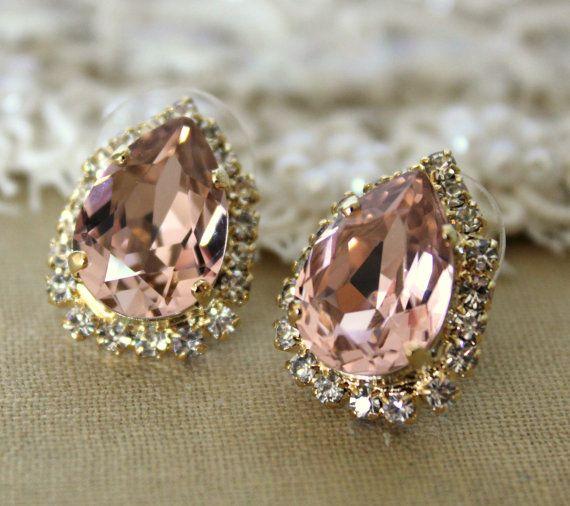 Pink Crystal big teardrop stud earring  14k plated gold by iloniti,